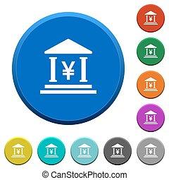 Yen bank office beveled buttons - Yen bank office round...