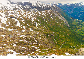 View on Geirangerfjord from Dalsnibba viewpoint in Norway -...