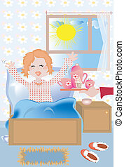 Girl morning -  	Breakfast at the bed to the redhead girl