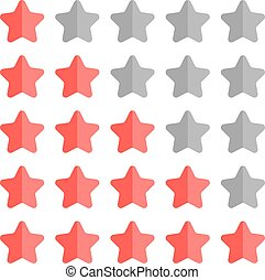 5 star rating set. Simple rounded shapes in grey and red.