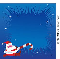 santa claus on Christmas blue greeting card