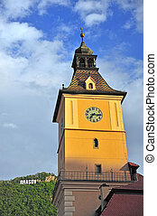 Tower of townhall and Brasov sign, Romania