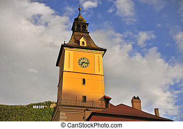 Townhall tower and sign of Brasov, Romania
