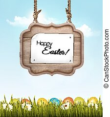 Happy Easter background with colorful eggs and wooden sign. Vector.