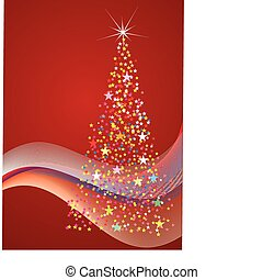 Abstract  christmas colorful stars tree on red background -2