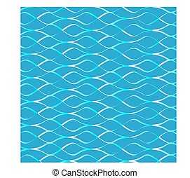 a pattern of wavy lines of blue and white on a blue...
