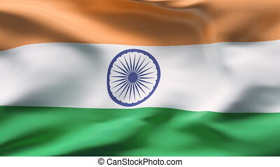 INDIA flag in slow motion - Creased cotton flag with visible...