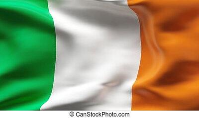 IRELAND flag in slow motion - Creased cotton flag with...