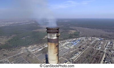 Aerial of a coal fire power station,close up
