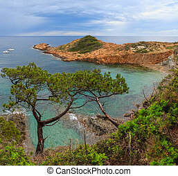 Summer sea bay (Spain). - Sea bay summer view with conifer...