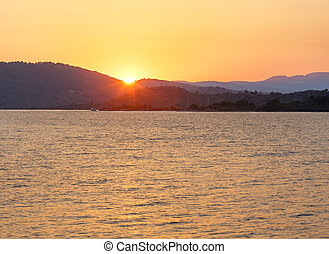 Sunset Aegean sea coast (Chalkidiki, Greece). - Aegean sea...