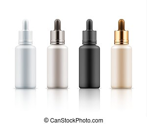 Cosmetic vials for essential, serum - Set of realistic glass...
