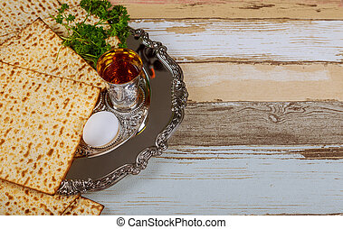 passover matzoh jewish traditional sedder plate - top view...