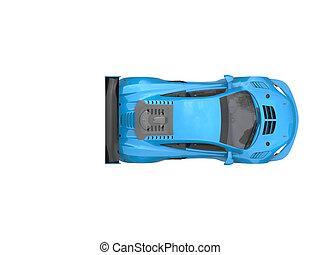 Royal blue modern sports car - top down view