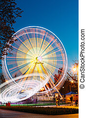 Rotating In Motion Effect Illuminated Attraction Ferris...