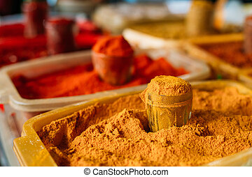 Diversity Of Colorful Powdered Fragrant Spices For Sale At...