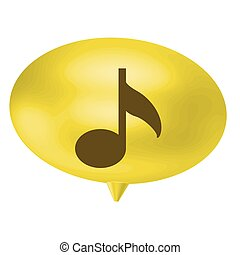 yellow bubble with musical note sign, vetor illustration