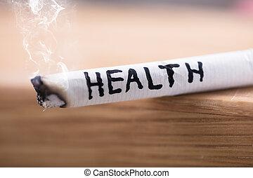 Cigarrillo, salud, riesgo, abrasador