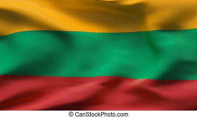 LITHUANIA flag in slow motion - Creased cotton flag with...