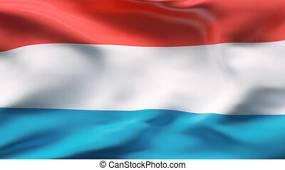 LUXEMBOURG flag in slow motion - Creased cotton flag with...
