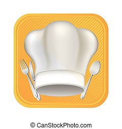hat with cutlery tools icon