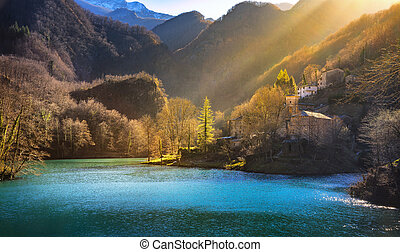 Isola Santa medieval village, church and lake. Garfagnana,...