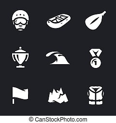 Vector Set of Rafting Icons. - Athlete, boat, paddle, cup,...