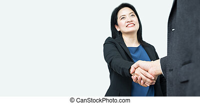 Smile Business woman handshake with businessman,Focus on...