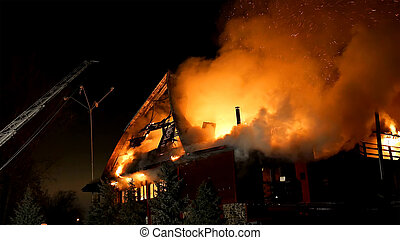 Fire. Blaze Inferno conflagration and combustion. - House...