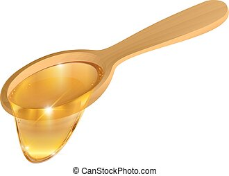 Wooden spoon with honey on white background