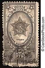 Old soviet stamps - Stamps on black background,Russia