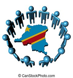 Circle of people around Democratic Republic of Congo map flag illustration