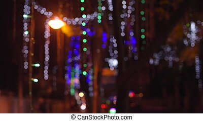 Night city lights is defocused with nice bokeh - Abstract...
