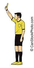 soccer referee showing yellow card. referee on football...