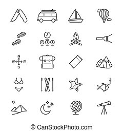 Traveling thin icons - Simple vector icons. Clear and sharp....