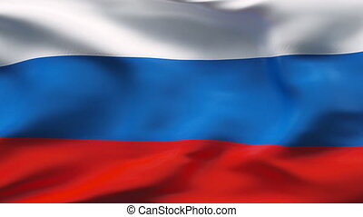 Creased RUSSIA satin flag in wind