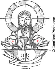 Jesus Christ with wine, bread and open hands illustration -...