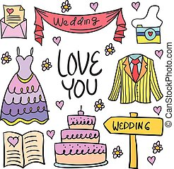 Doodle of wedding element party