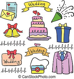 Doodle of wedding party element