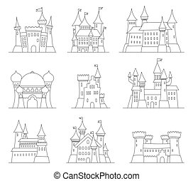 Castles and fortresses flat design vector icons. Set of 9...