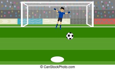 shot of several penalty kicks with goalkeeper in football