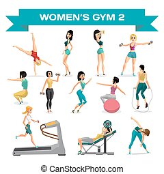 Set of women engaged in exercise in the gym. Part 2. Vector flat