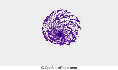 Violet Liquid tornado. Beautiful colored paint whirl. Isolated transparent vortex of liquid like whirlwind 3d animation with alpha matte. Version 5
