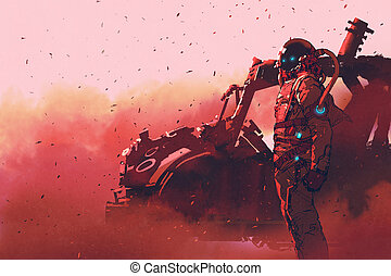 futuristic vehicle on Mars planet - red astronaut standing...
