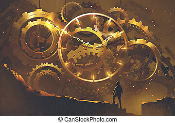 the big golden clockwork - man standing in front of the big...