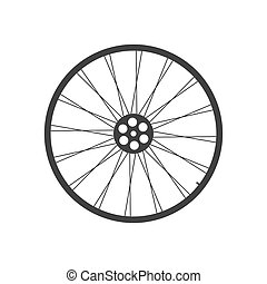 Bicycle wheel icon - Black bicycle wheel on the white...