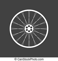 Bicycle wheel icon - White bicycle wheel on the black...