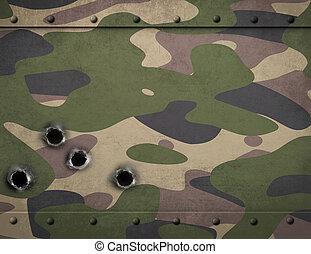銃弾, 軍隊, よろいかぶと, 穴, 金属, カモフラージュ, イラスト, 3D