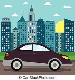 car sedan transport city sun vector illustration eps 10