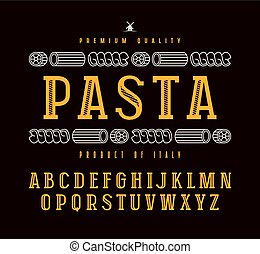 Decorative slab serif font and pasta label - Decorative slab...